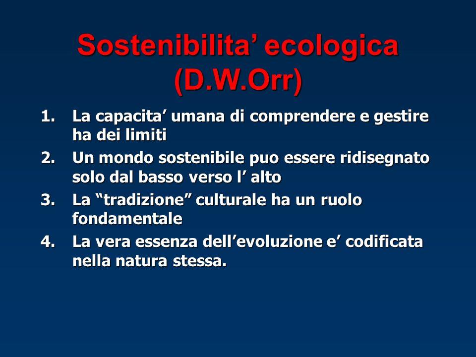 Sostenibilita' ecologica (D.W.Orr)