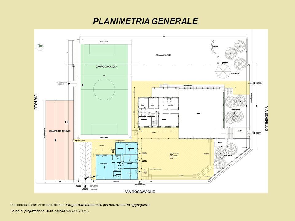 PLANIMETRIA GENERALE Parrocchia di San Vincenzo Dè Paoli Progetto architettonico per nuovo centro aggregativo.