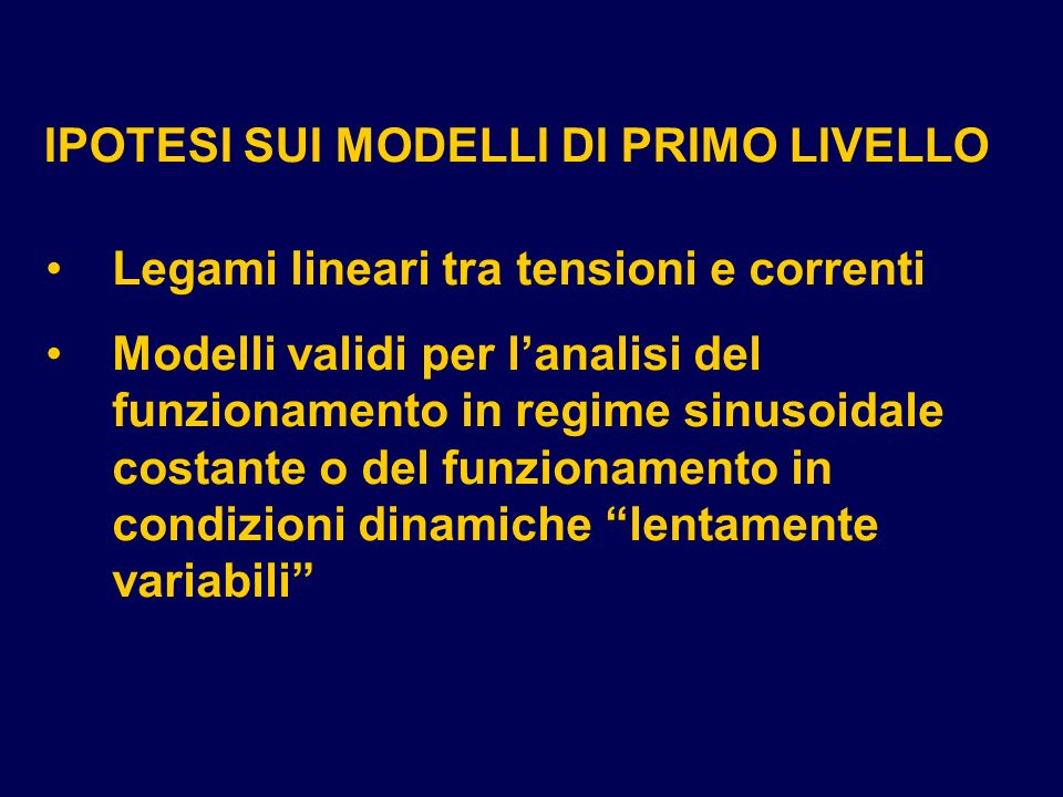 IPOTESI SUI MODELLI DI PRIMO LIVELLO