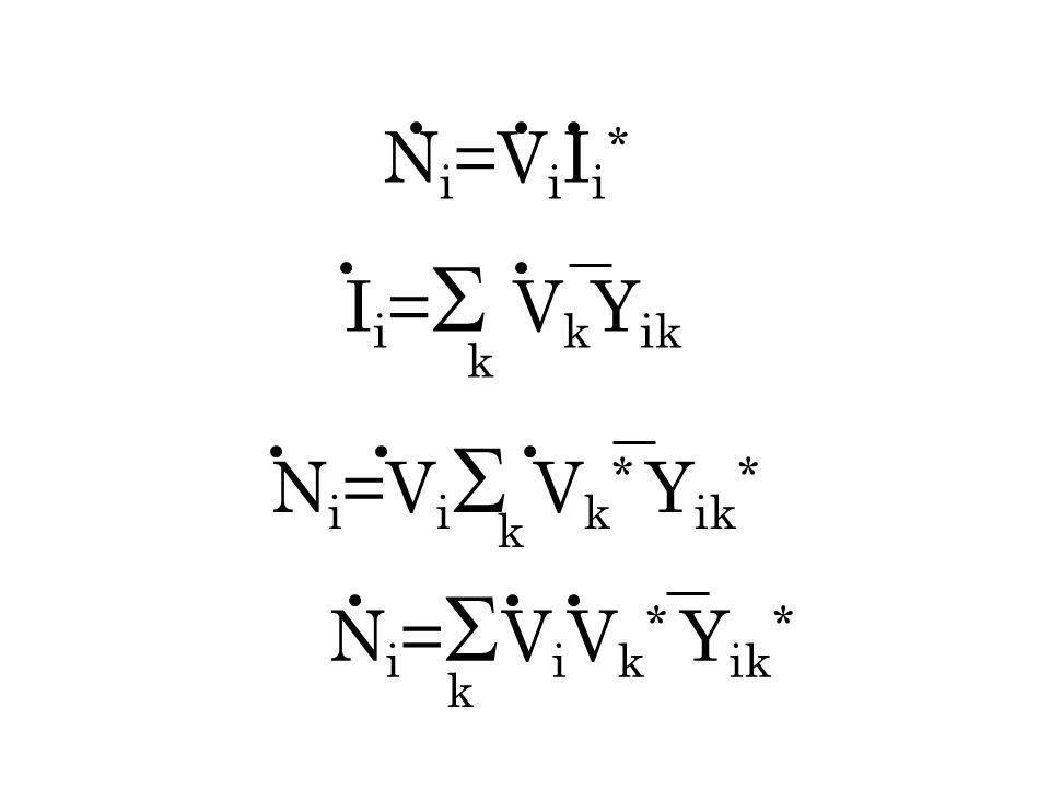 Ni=ViIi* Ii=VkYik k Ni=ViVk* Yik* k Ni=ViVk* Yik* k