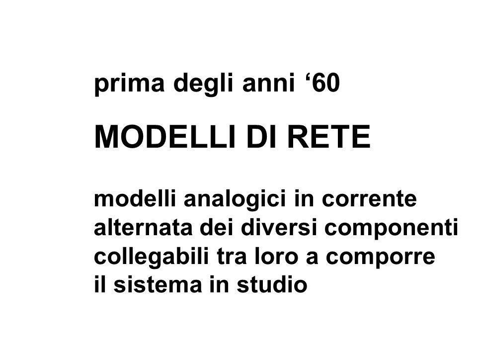 MODELLI DI RETE prima degli anni '60 modelli analogici in corrente
