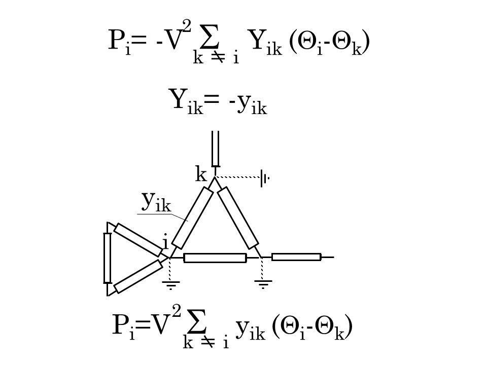 Pi= -V  Yik (i-k) Yik= -yik yik Pi=V  yik (i-k) k i 2 k  i 2