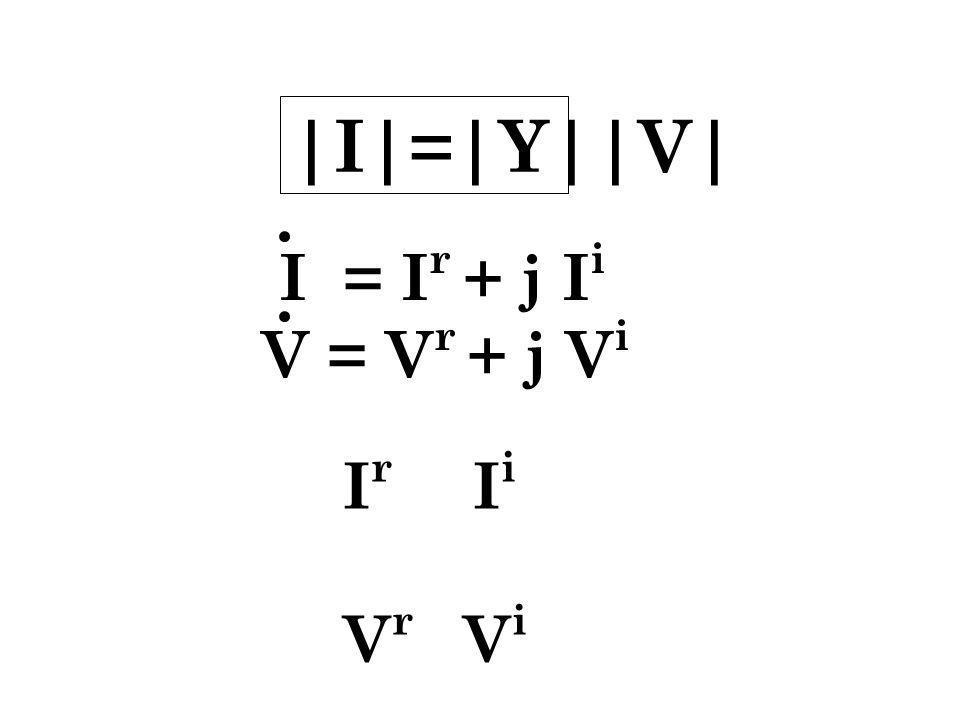 |I|=|Y||V| I = Ir + j Ii V = Vr + j Vi Ir Ii Vr Vi