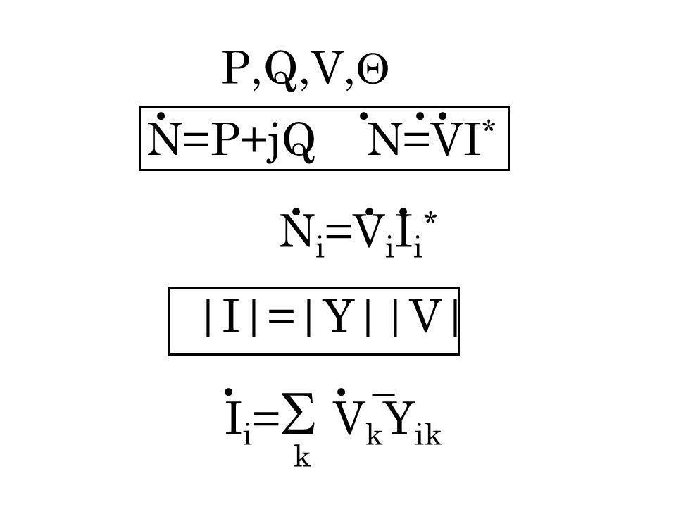 P,Q,V, N=P+jQ N=VI* Ni=ViIi* |I|=|Y||V| Ii=VkYik k