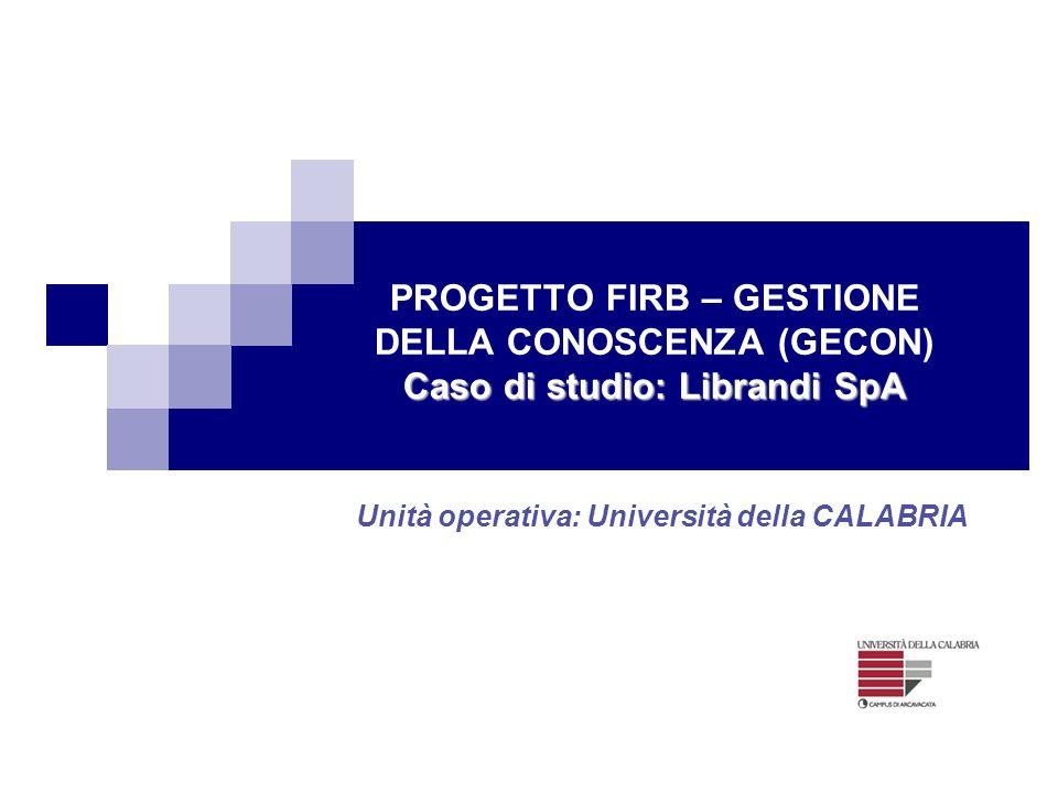 Unità operativa: Università della CALABRIA