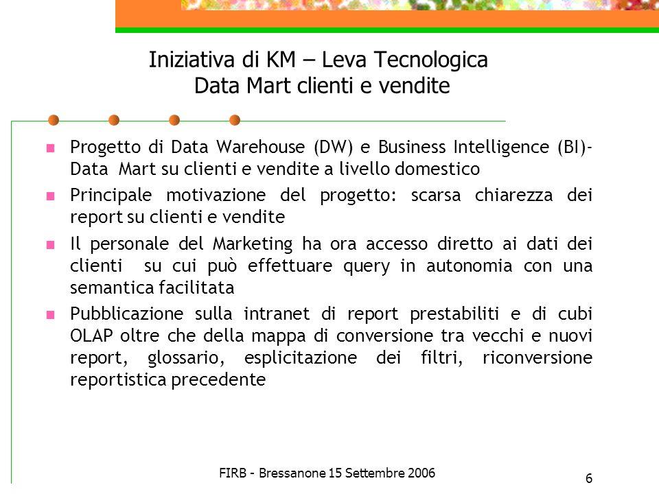 Iniziativa di KM – Leva Tecnologica Data Mart clienti e vendite