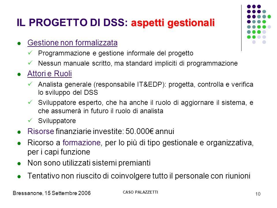 IL PROGETTO DI DSS: aspetti gestionali