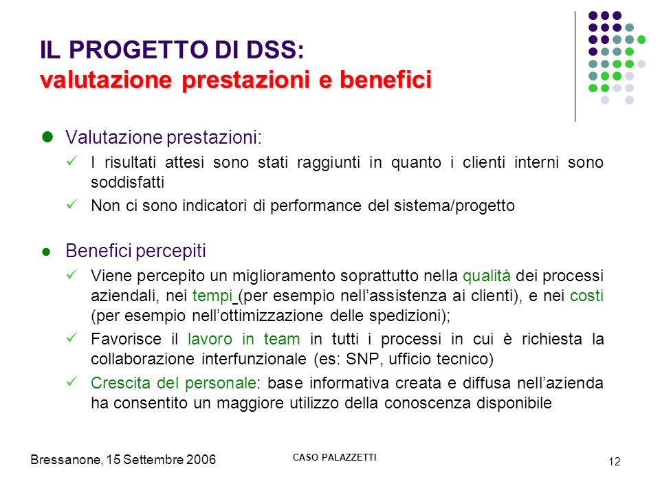 IL PROGETTO DI DSS: valutazione prestazioni e benefici