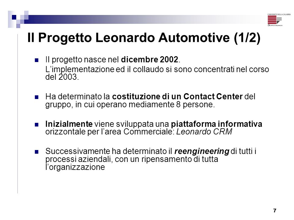Il Progetto Leonardo Automotive (1/2)