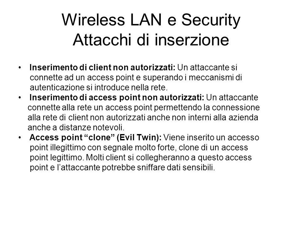 Wireless LAN e Security Attacchi di inserzione