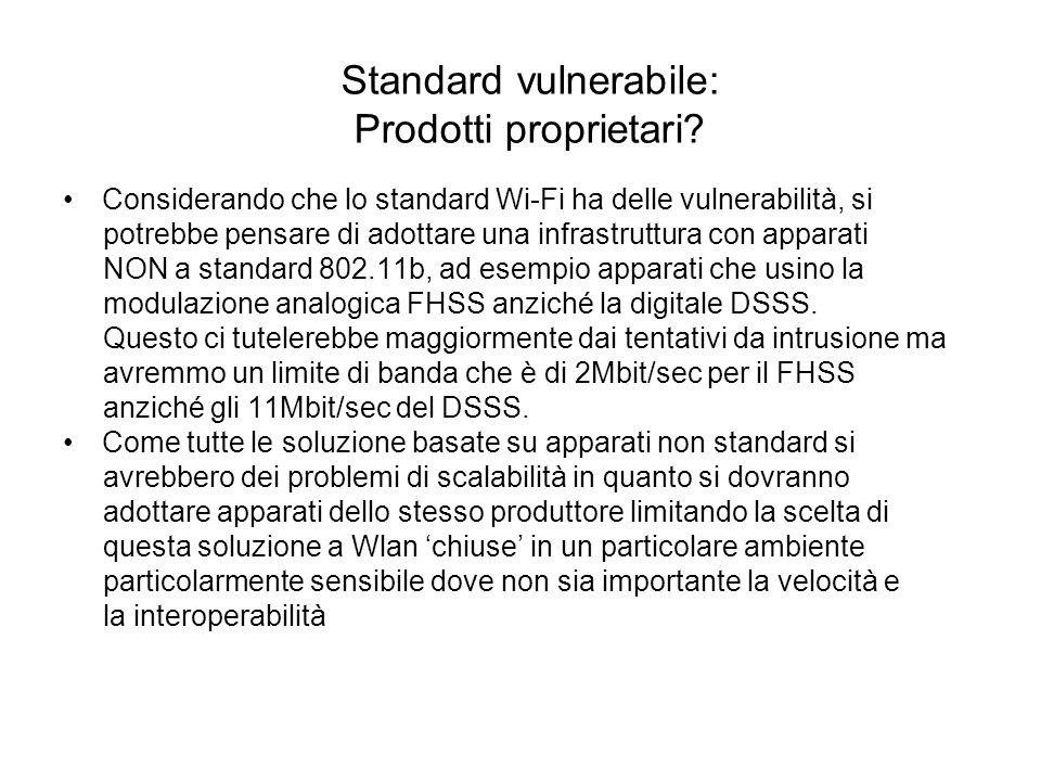 Standard vulnerabile: Prodotti proprietari