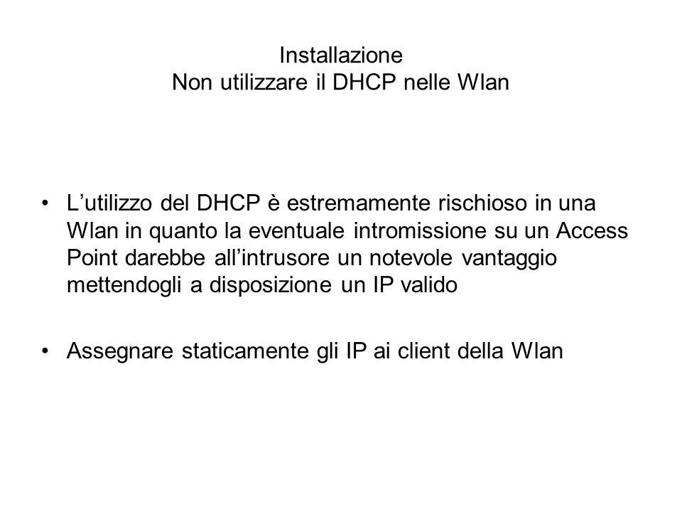 Installazione Non utilizzare il DHCP nelle Wlan
