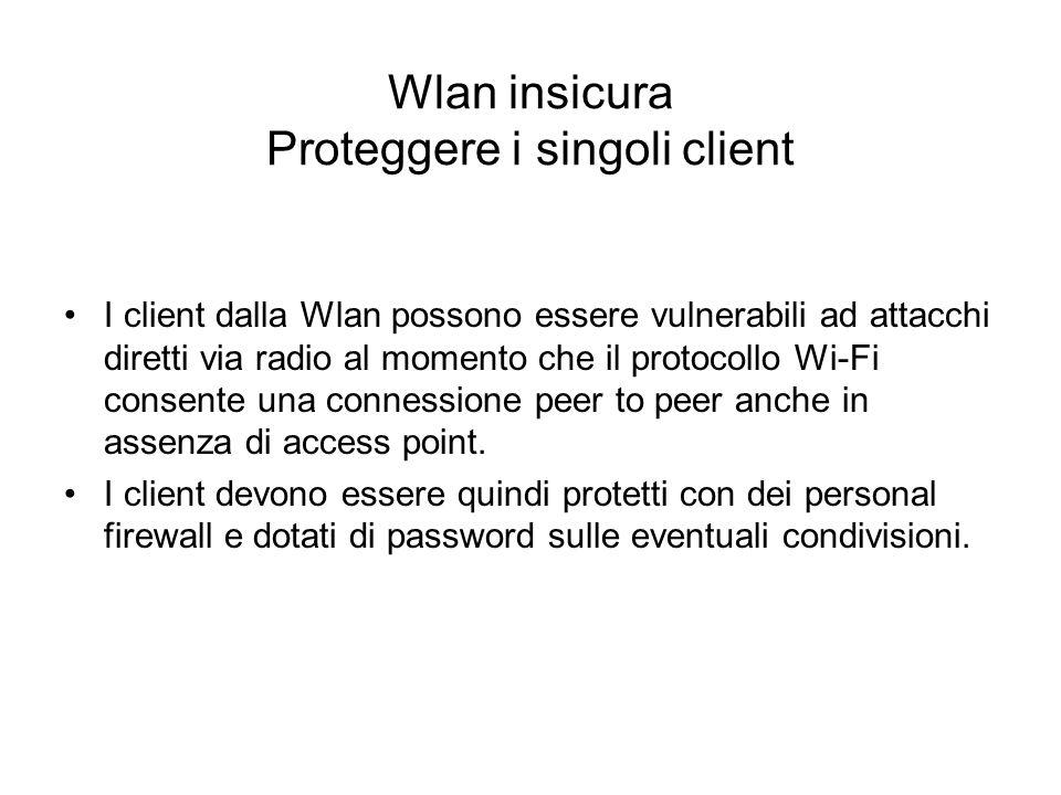 Wlan insicura Proteggere i singoli client