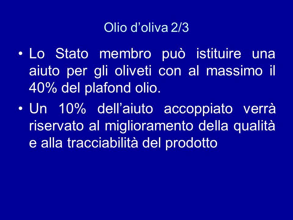 Olio d'oliva 2/3 Lo Stato membro può istituire una aiuto per gli oliveti con al massimo il 40% del plafond olio.