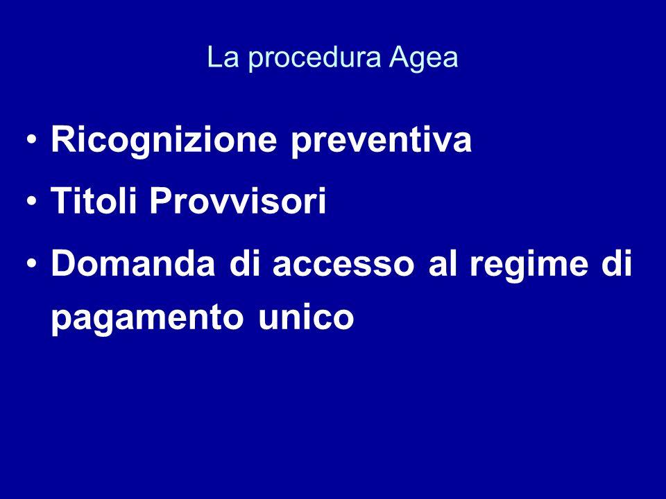 Ricognizione preventiva Titoli Provvisori