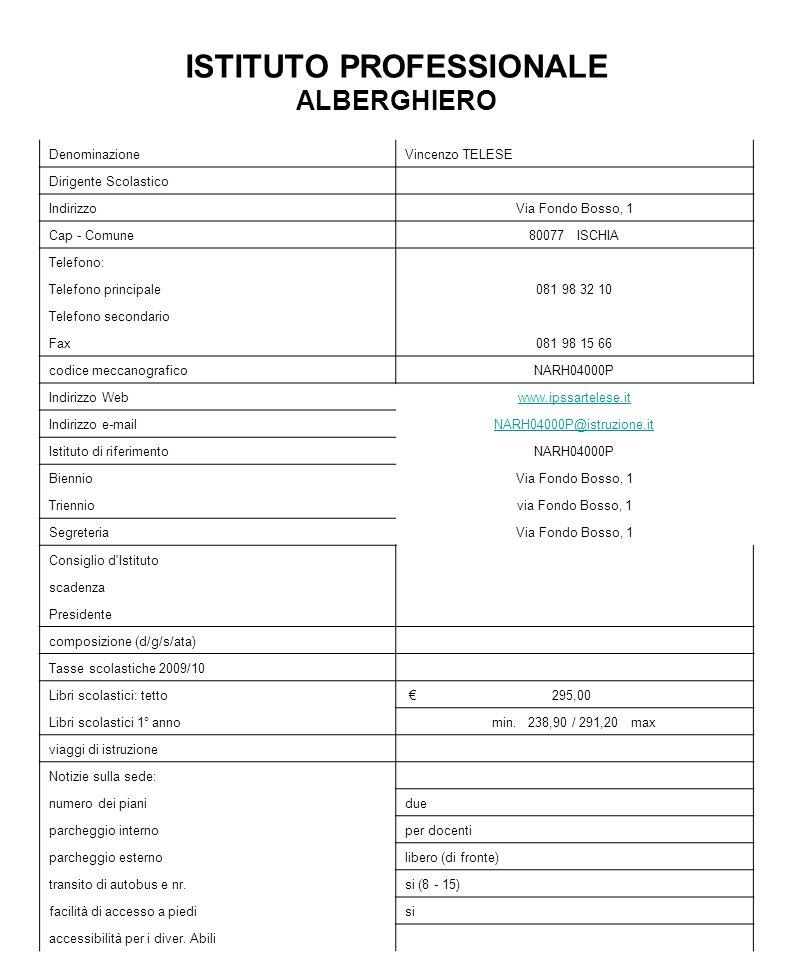 ISTITUTO PROFESSIONALE ALBERGHIERO