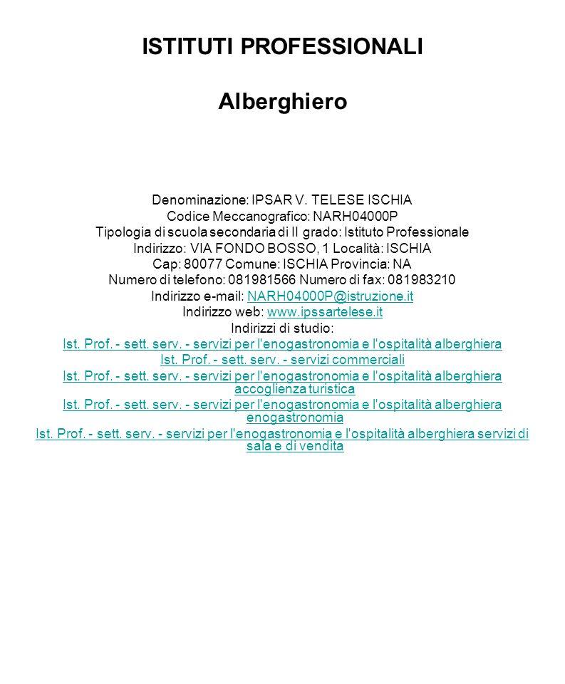 ISTITUTI PROFESSIONALI Alberghiero
