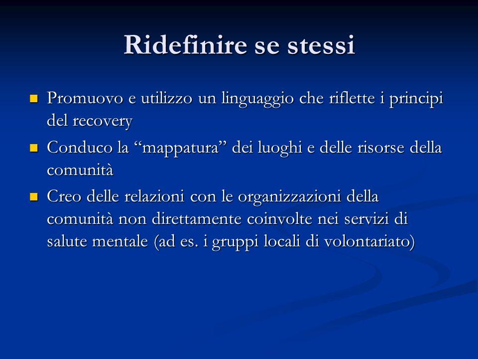 Ridefinire se stessi Promuovo e utilizzo un linguaggio che riflette i principi del recovery.