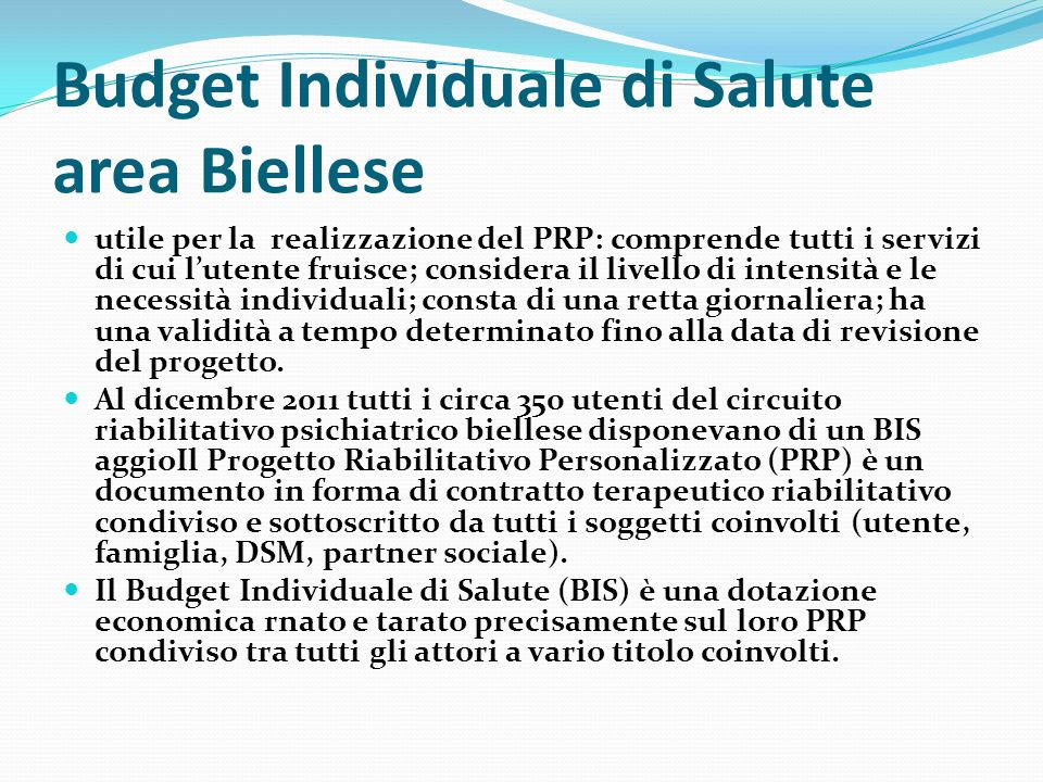 Budget Individuale di Salute area Biellese