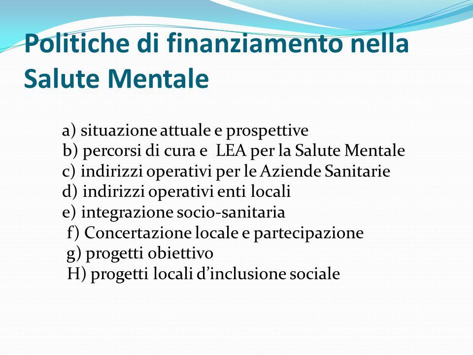 Politiche di finanziamento nella Salute Mentale