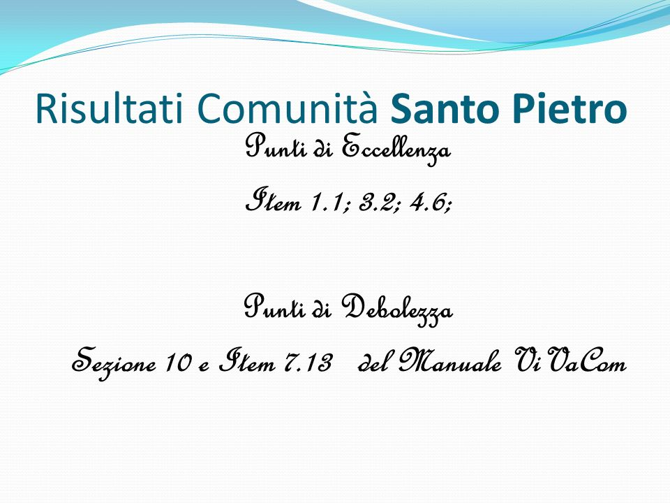 Risultati Comunità Santo Pietro