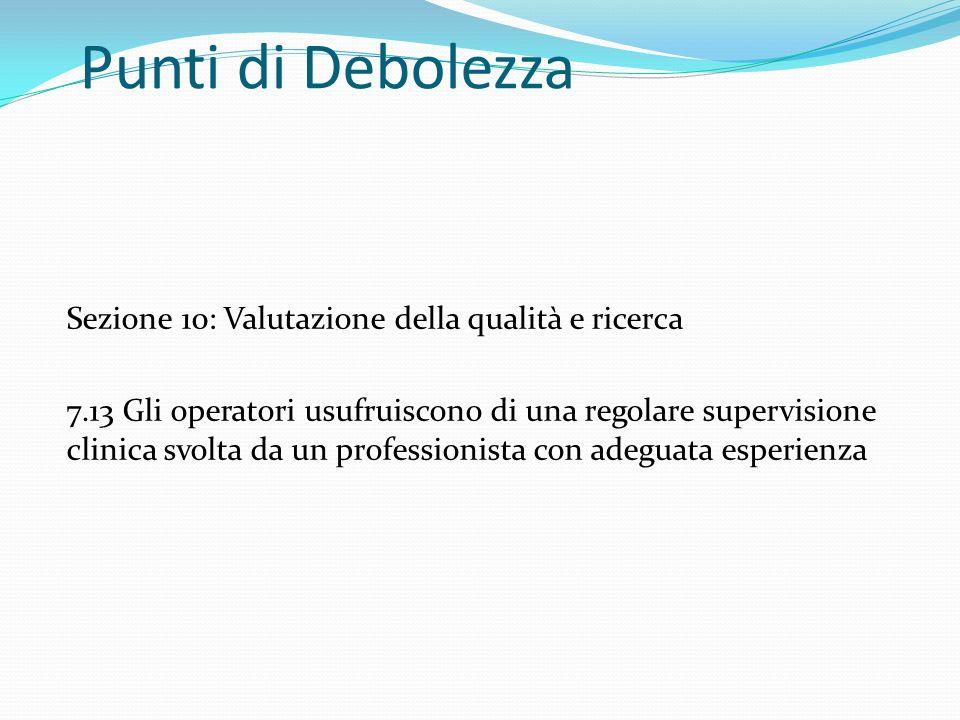Punti di Debolezza Sezione 10: Valutazione della qualità e ricerca