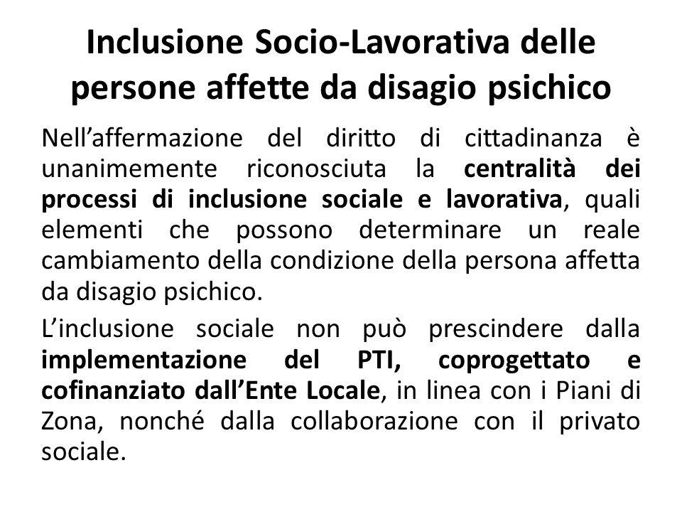 Inclusione Socio-Lavorativa delle persone affette da disagio psichico