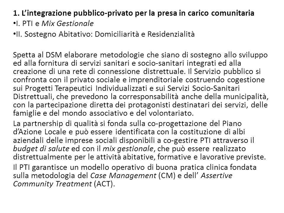 1. L'integrazione pubblico-privato per la presa in carico comunitaria