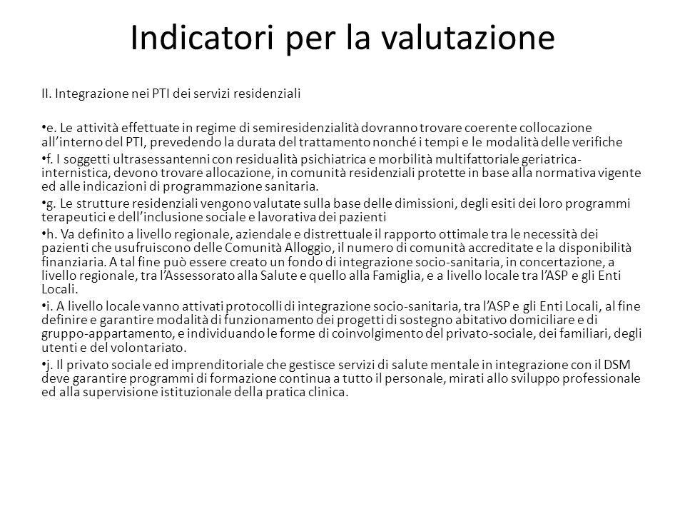 Indicatori per la valutazione
