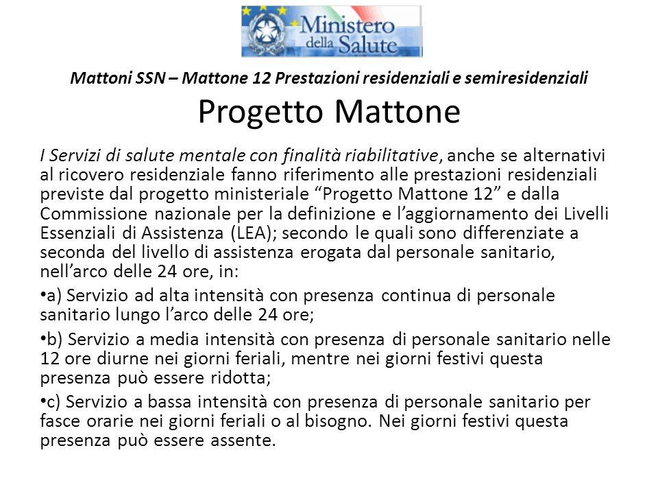 Mattoni SSN – Mattone 12 Prestazioni residenziali e semiresidenziali Progetto Mattone