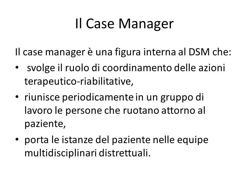 Il Case Manager Il case manager è una figura interna al DSM che: