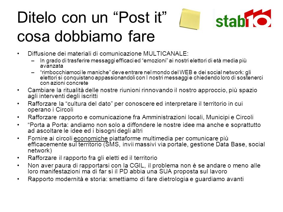 Ditelo con un Post it cosa dobbiamo fare