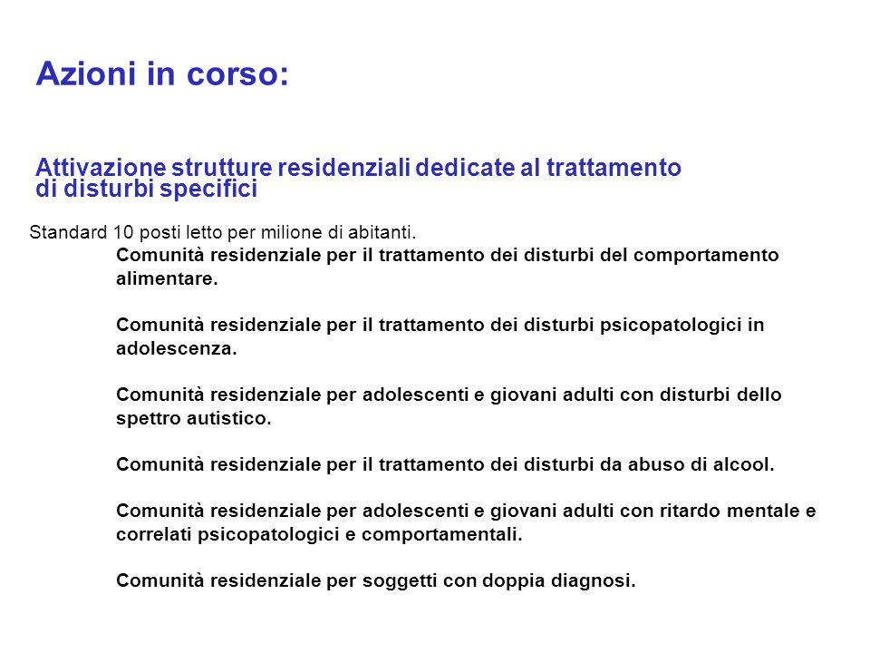 Azioni in corso: Attivazione strutture residenziali dedicate al trattamento di disturbi specifici