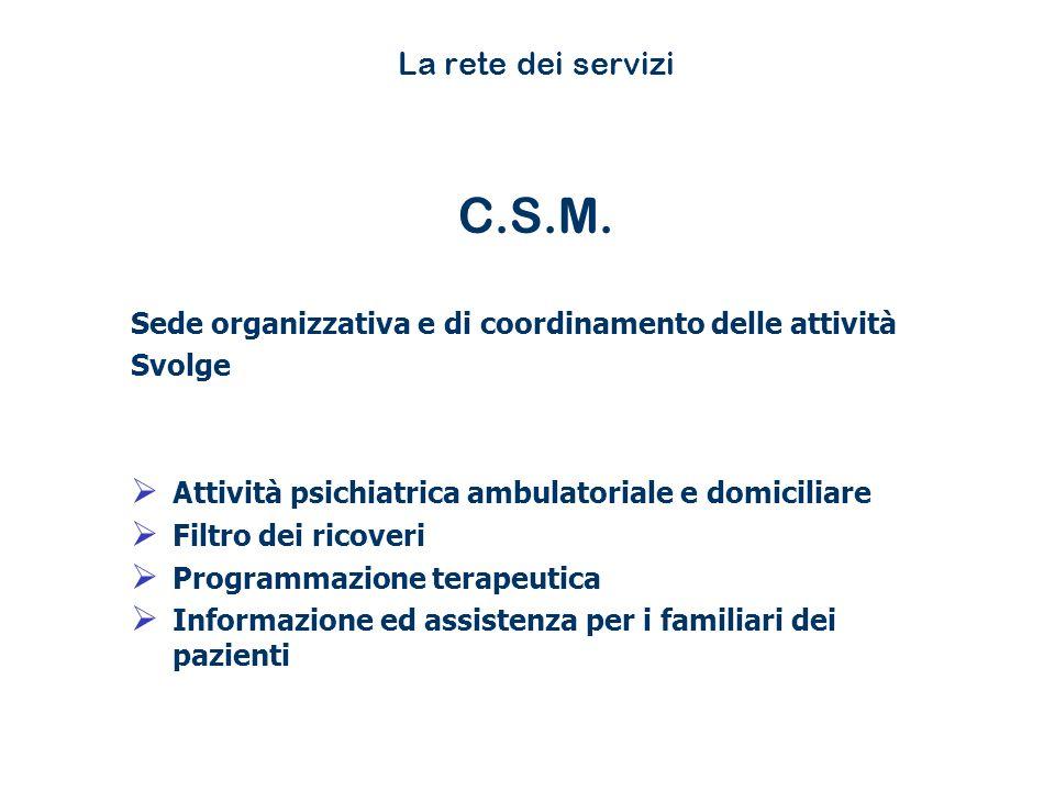 La rete dei servizi C.S.M. Sede organizzativa e di coordinamento delle attività. Svolge. Attività psichiatrica ambulatoriale e domiciliare.