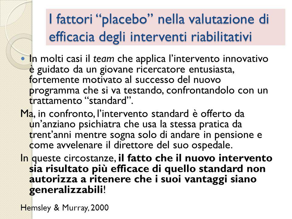 I fattori placebo nella valutazione di efficacia degli interventi riabilitativi