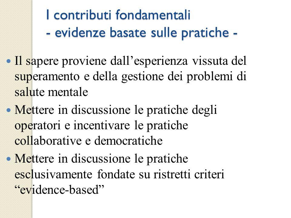 I contributi fondamentali - evidenze basate sulle pratiche -