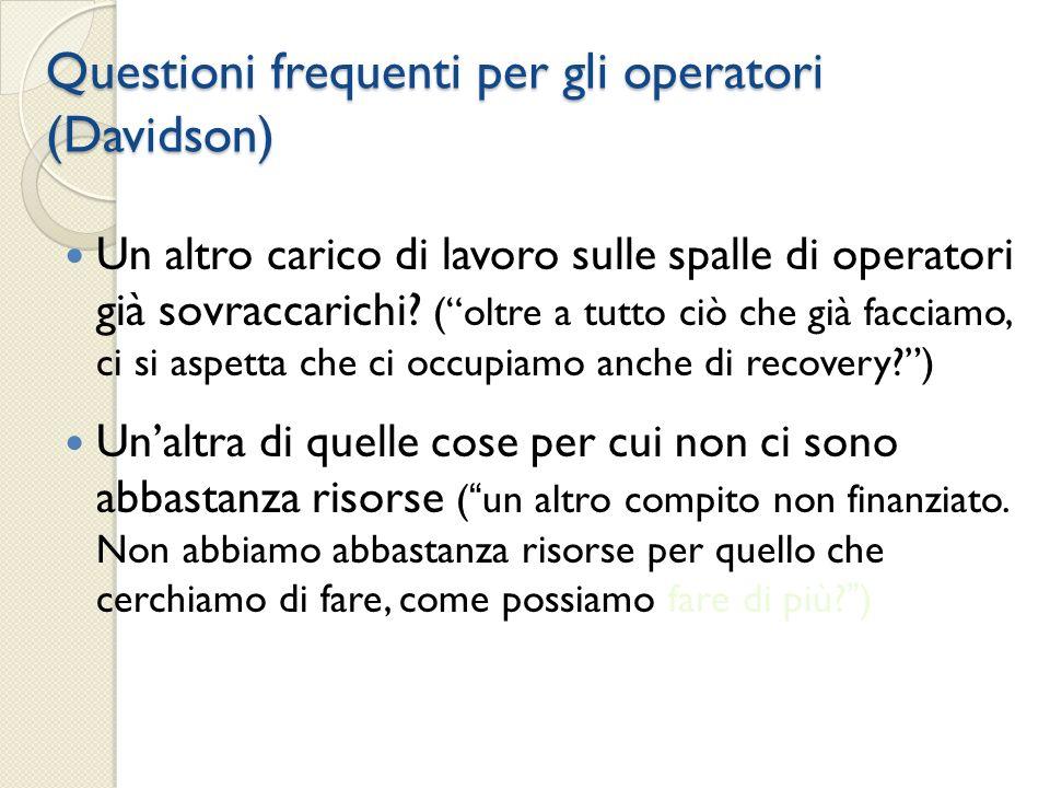 Questioni frequenti per gli operatori (Davidson)