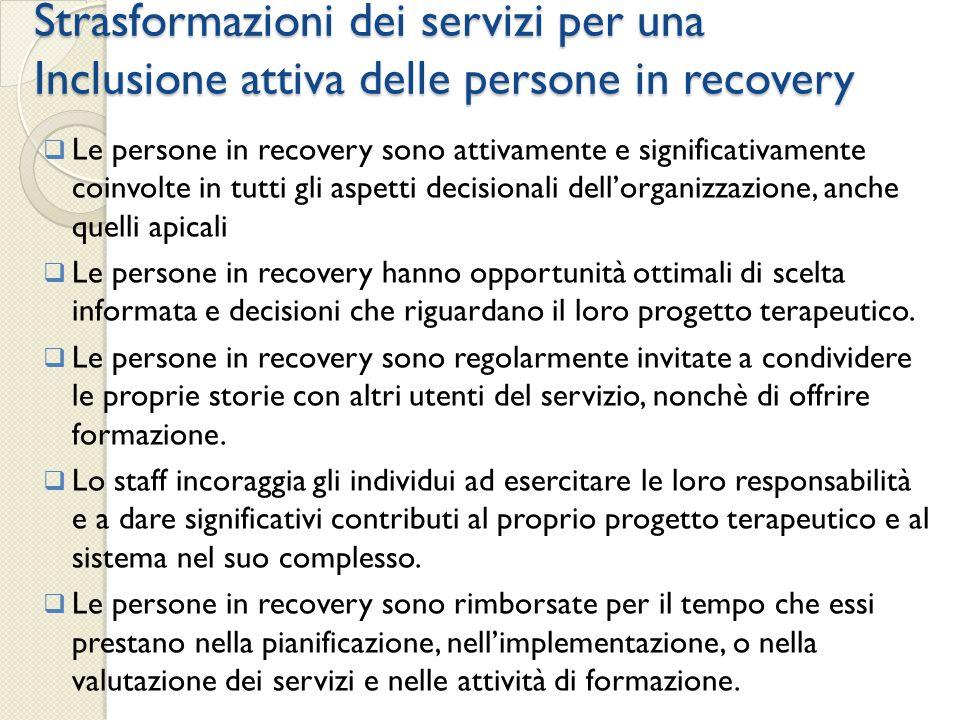 Strasformazioni dei servizi per una Inclusione attiva delle persone in recovery