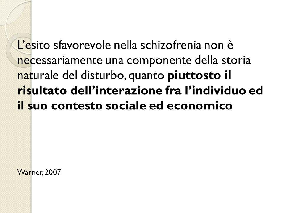 L'esito sfavorevole nella schizofrenia non è necessariamente una componente della storia naturale del disturbo, quanto piuttosto il risultato dell'interazione fra l'individuo ed il suo contesto sociale ed economico