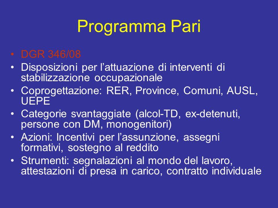 Programma Pari DGR 346/08. Disposizioni per l'attuazione di interventi di stabilizzazione occupazionale.