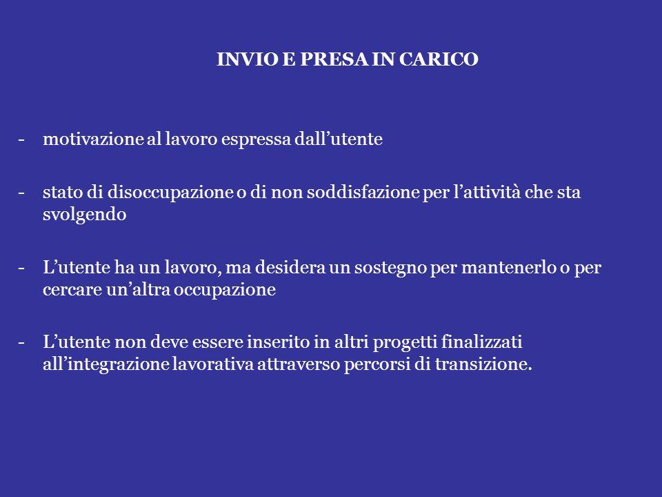 INVIO E PRESA IN CARICO motivazione al lavoro espressa dall'utente. stato di disoccupazione o di non soddisfazione per l'attività che sta svolgendo.