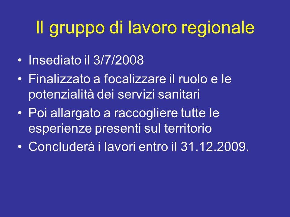 Il gruppo di lavoro regionale