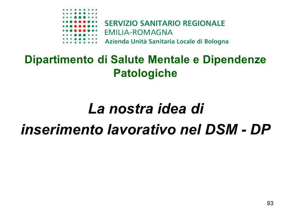 La nostra idea di inserimento lavorativo nel DSM - DP
