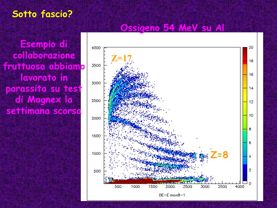 Sotto fascio Ossigeno 54 MeV su Al. Esempio di collaborazione fruttuosa abbiamo lavorato in parassita su test di Magnex la settimana scorsa.