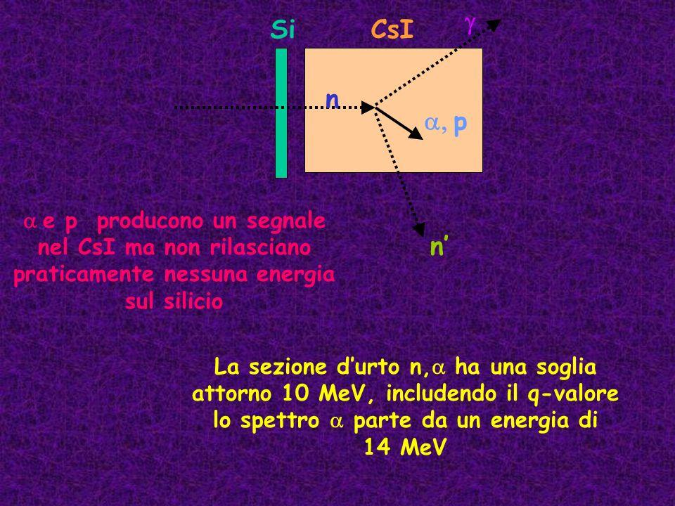 n a, p. Si. CsI. n' g. a e p producono un segnale nel CsI ma non rilasciano praticamente nessuna energia sul silicio.