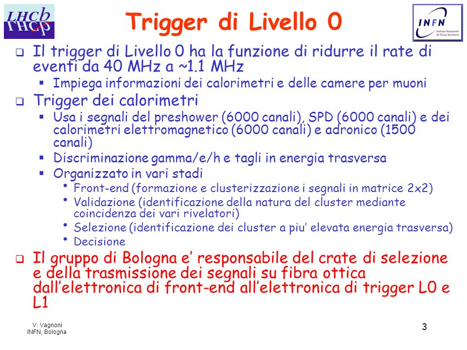 Trigger di Livello 0Il trigger di Livello 0 ha la funzione di ridurre il rate di eventi da 40 MHz a ~1.1 MHz.