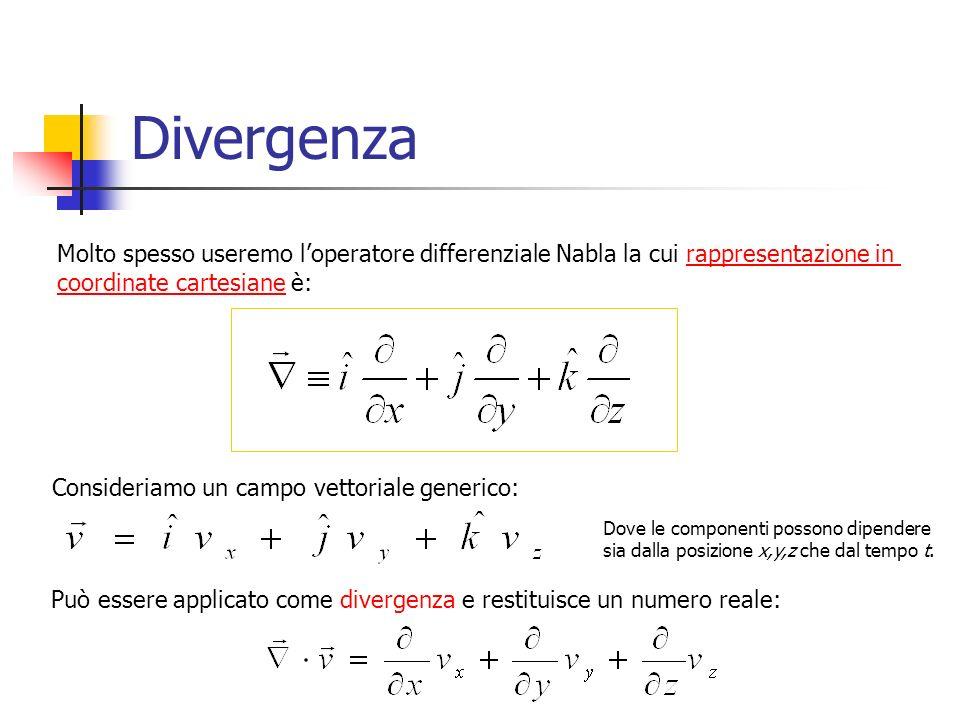 Divergenza Molto spesso useremo l'operatore differenziale Nabla la cui rappresentazione in. coordinate cartesiane è: