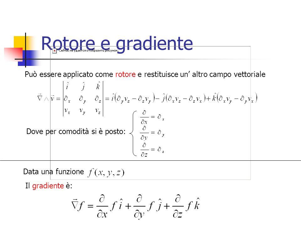 Rotore e gradiente Può essere applicato come rotore e restituisce un' altro campo vettoriale. Dove per comodità si è posto: