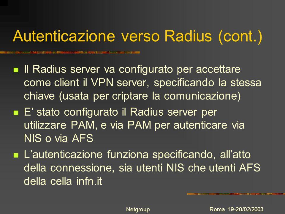 Autenticazione verso Radius (cont.)