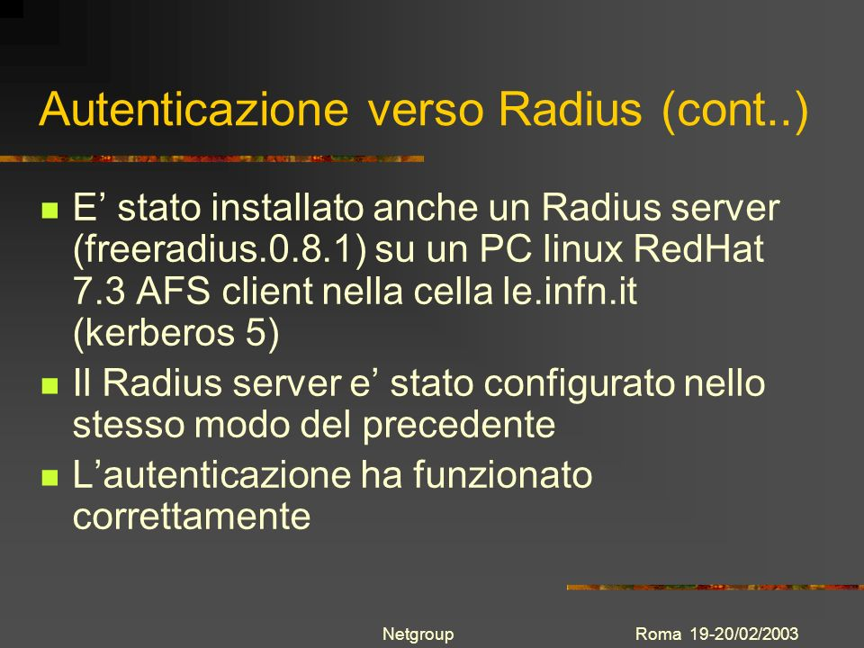 Autenticazione verso Radius (cont..)